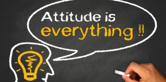 attitude is everything concept on chalkboard