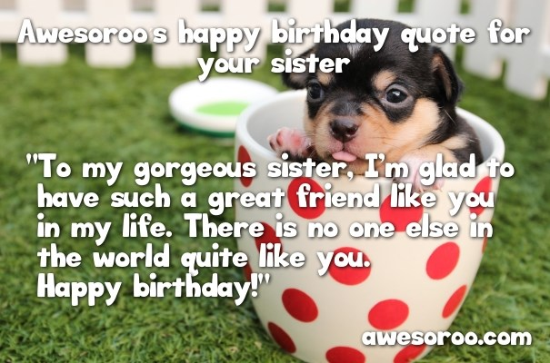 Happy Birthday Wish For Sister Nice Puppy In Cup