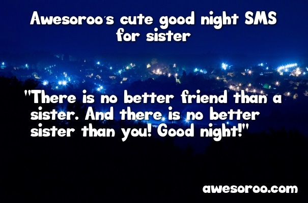 cute goodnight message for sister