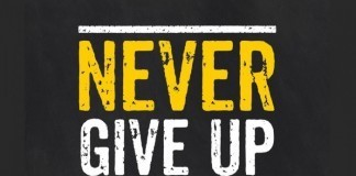 never give up sign
