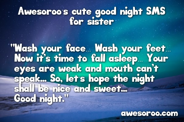 aurora with good night sms for sister