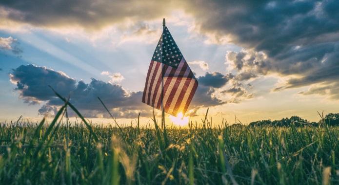 american flag on grass desktop