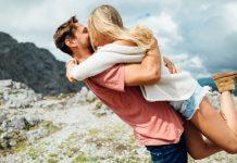 cute couple on hiking tour
