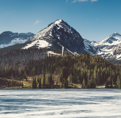 icy lake in mountains mobile